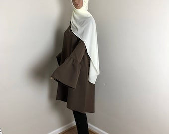 BrownDressTunic, Stuck, Longbluse, Islamicclothing, ModestClothing, MuslimOutfit, Longshirt