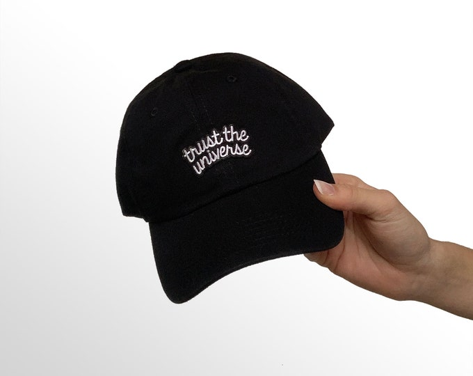"Women's Small-Fit Hat - ""Trust The Universe"" Patch on Black Small Cap"