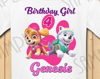 Paw Patrol Everest Skye Birthday Girl INSTANT DOWNLOAD Personalized Matching Shirt Iron On Transfer Printable SVG Use As A Clipart