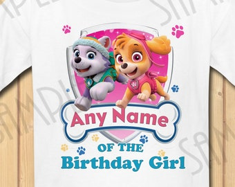 Paw Patrol Skye Everest Any Name Of The Birthday Boy INSTANT DOWNLOAD Personalized Matching Shirt Iron On Transfer Printable SVG