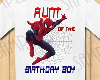 c1efa5b02b212 Marvel Spiderman Aunt of the Birthday Boy INSTANT DOWNLOAD Personalized  Matching birthday shirt Iron on transfer Printable Party shirts SVG
