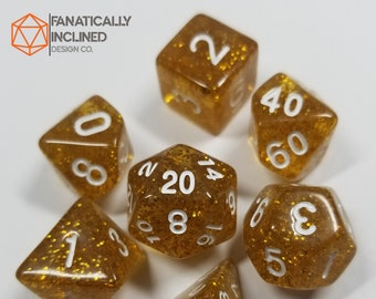 Champagne Gold Glitter Dice Set DND Dungeons and Dragons D20 Critical Role Polyhedral Pathfinder RPG Tabletop Gaming TTRPG Carnival