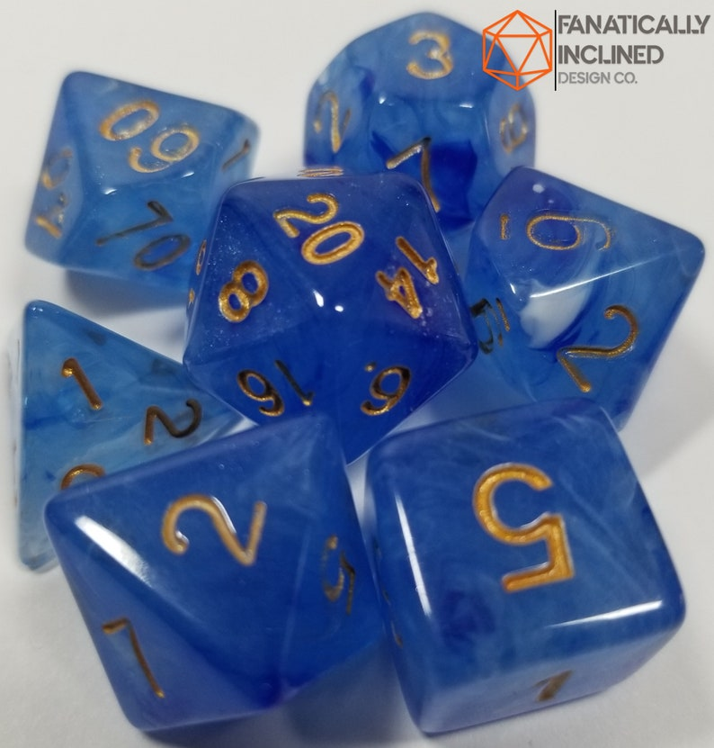Blue Berries and Cream wGold Dice Set DND Dungeons and Dragons Critical Role Polyhedral Pathfinder Tabletop Gaming TTRPG blueberry Ocean
