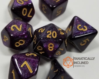 Purple Blue Black Nebula Dice Set DND Dungeons and Dragons Critical Role Polyhedral Pathfinder Tabletop Gaming TTRPG blood galaxy sparkle