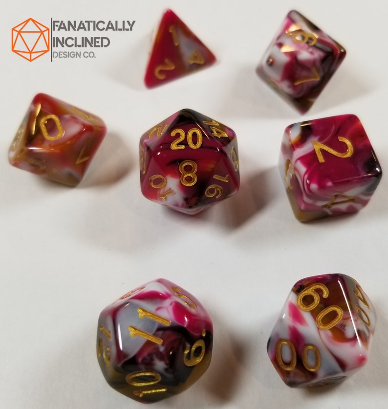 Red Brown White Ice Cream Sundae Dice Set DND Dungeons and Dragons Critical Role Polyhedral Pathfinder Tabletop Gaming TTRPG