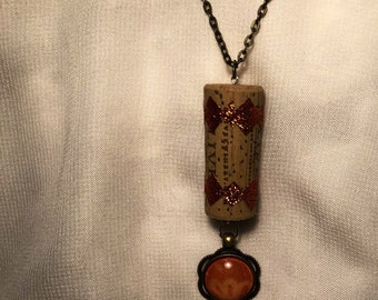 Wine cork necklace with orange accents