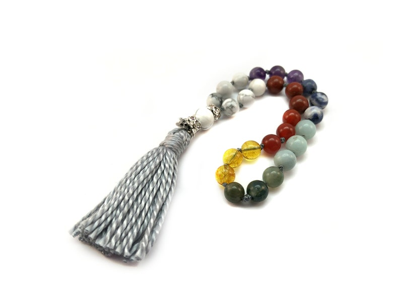 e5e25f0fa32ab Mala Beads, 27 Bead Mala, 7 Chakra, Meditation Mala, Reiki Charged, Gift  for Mom, Gift for Yogi, Mini Mala, Chakra Healing, Yogi Mom Gift