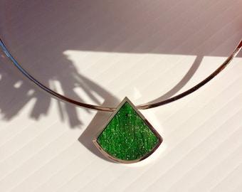 necklace with green garnet druzy