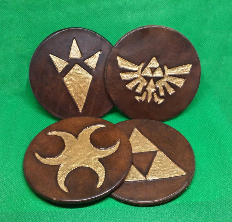 Set of 4 Legend of Zelda Symbols Leather Coasters Tea Coffee Placemats