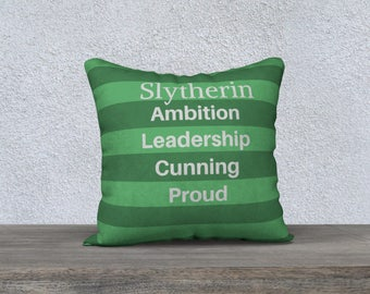 Slytherin Pillow, Harry Potter Gift, Book Lover Gift, Green Pillow, Pillow Case, Home Decor, Slytherin Gift, Sofa Pillow, Gift for Him,