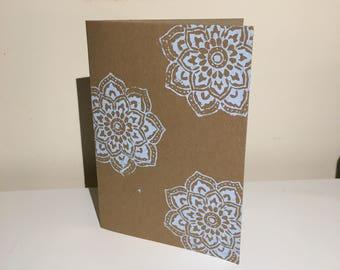 Mandala greetings card- blue paint