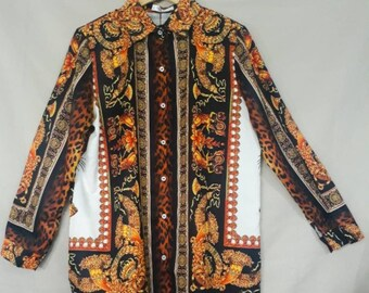 01a01ee95 Baroque Graphic Print Shirt Long Sleeve Button Down Shirt Baroque Versace  Inspired Blouse Graphic Pop Art Print Ladies Shirt Gold Chain