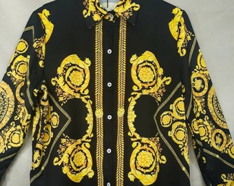 84c0da55 Baroque Graphic Print Shirt Long Sleeve Button Down Shirt Baroque Versace  Inspired Blouse Graphic Pop Art Print Ladies Shirt Gold Chain