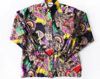 3fc9012389f6 Vintage Baroque Printed Shirt Vintage Baroque Patterned Blouse Vintage  Versace Style Printed Unisex Shirt Button Up Long Sleeve Shirt