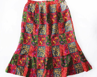 82acc15ff Vintage Baroque Print Skirt Vintage Baroque Print Skirt Red and Gold  Baroque Pattern Long Skirt Women size medium large