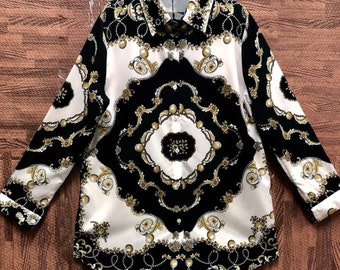 a2c51b15 Baroque Print Versace Style Button Down Shirt Long Sleeve Baroque Versace  Inspired Blouse Graphic Pop Art Print Ladies Shirt Gold Chain