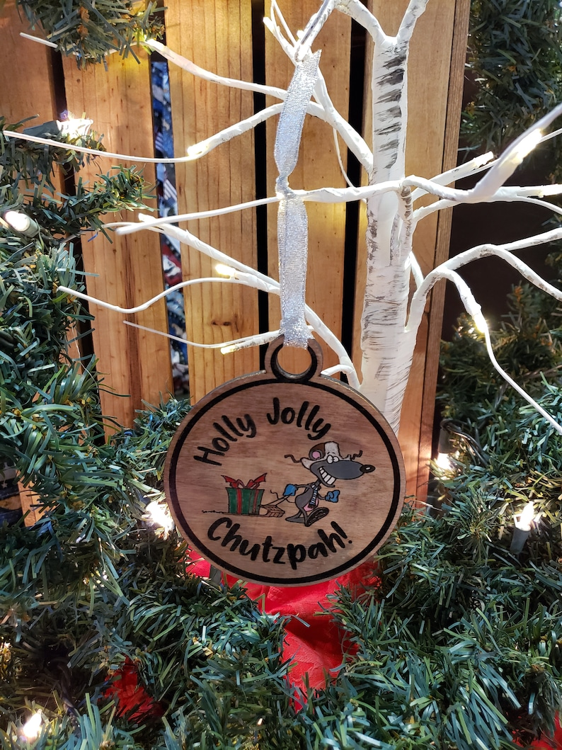 Chrismukkah Ornament Hand Painted Embellishments Holly Jolly Chutzpah Laser Engraved Mouse taking Present
