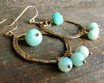 Amazonite Gold Hoop Earrings, Gemstone Jewelry, Handmade in Alaska, Gift for Her, Gift for Mom, Gift for Wife