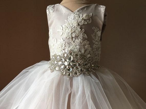 c32c85fd6 IVY Ivory Lace Champagne Tulle Flower Girl Dress Vintage Dress | Etsy
