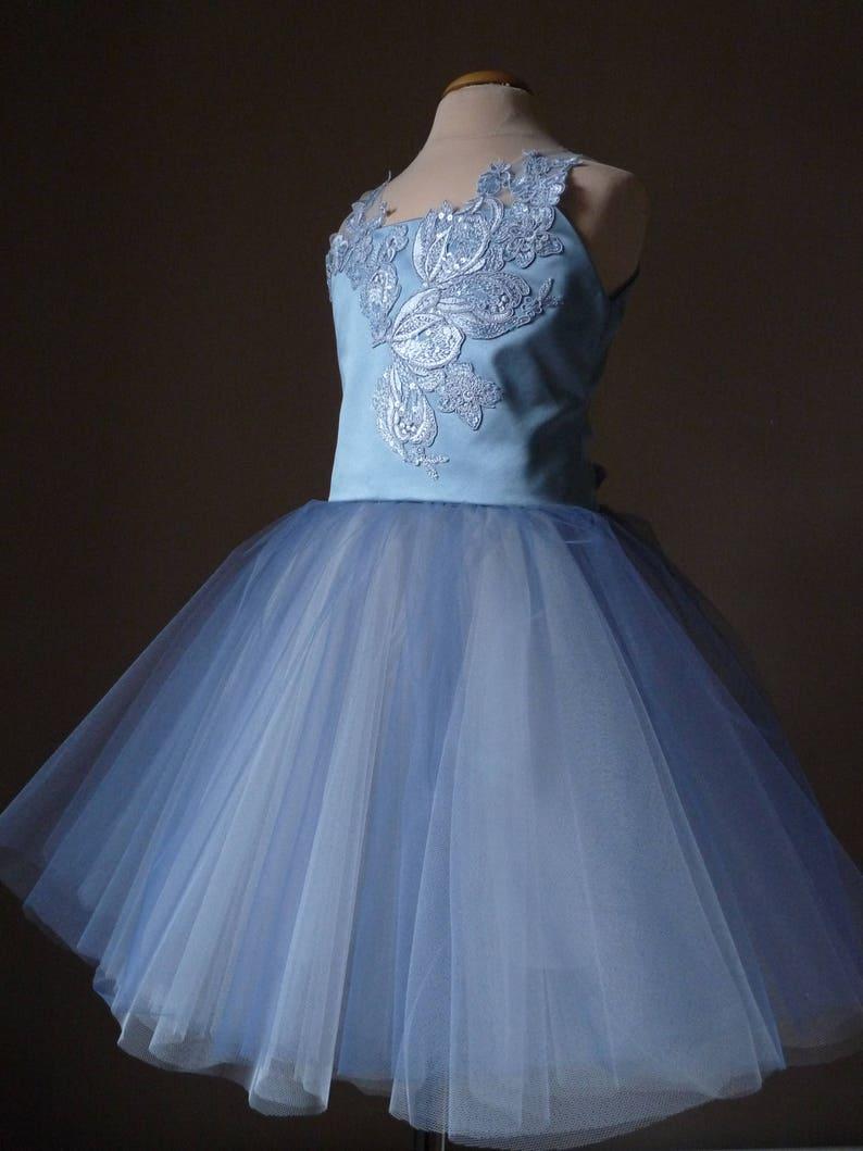 04a493a9b66 SKY Dusty Blue Tulle Flower Girl Dress Vintage Dress Wedding