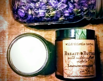 Breast butter with wild crafted violets. Vegan