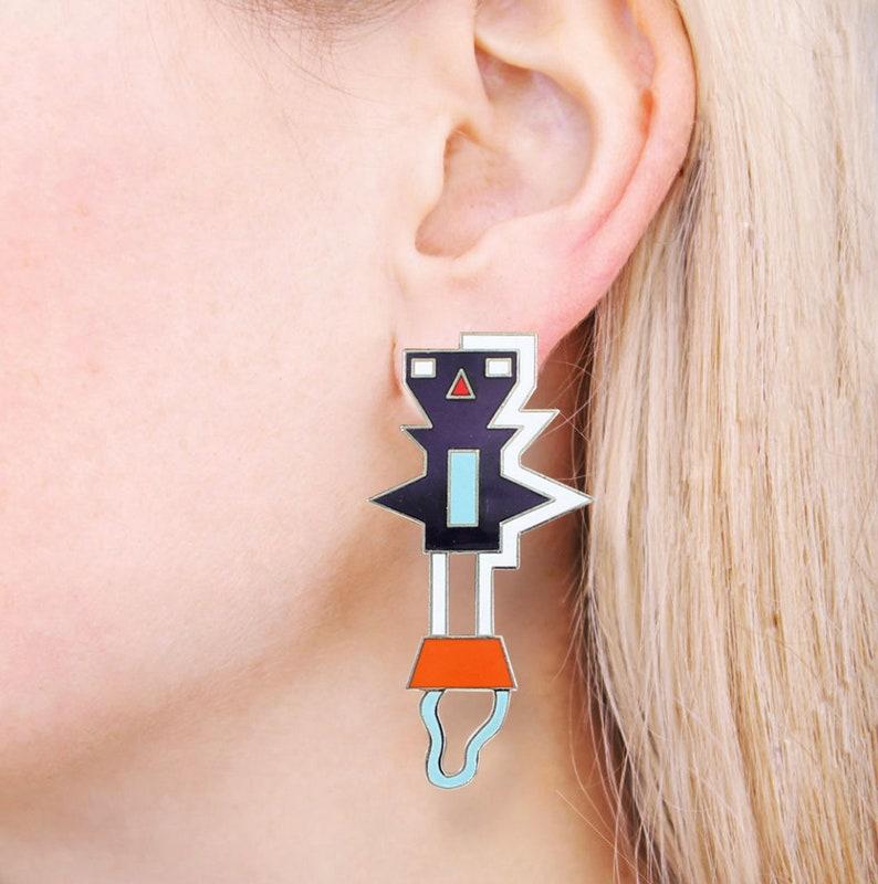 MEMPHIS Designer Nathalie Du Pasquier Ninib Earrings by ACME Studio VINTAGE