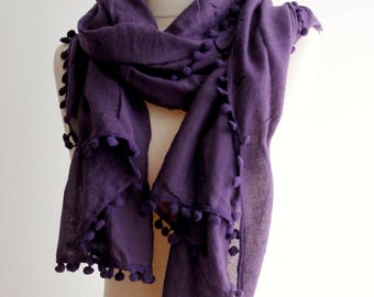 Women's Ladies 100% Cotton Lavender Purple Scarf Shawl Wrap Scarves Beach Pareo Sarong Spring Summer Autumn Pom Pom Trimmed