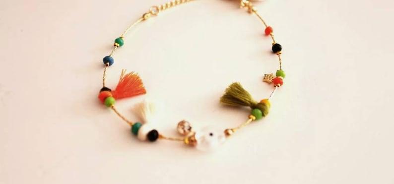 Womens Summer Clear Evil eye Foot Ankle Bracelet Jewellery Beads Stones Tassels handmade
