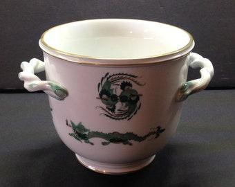 "Vintage Meissen Porcelain Vase, Cup with Handles and Green Asian Design - Dragons, Gilt - Crossed Swords Mark  4"" High"