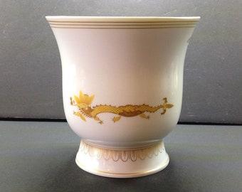 "Vintage Meissen Porcelain Vase, Cup with Yellow Asian Design - Dragons, Gilt - Crossed Swords Mark  6.25"" High"