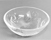 Lalique Crystal Bowl With Branches and Flowers in Original Box Signed Lalique France