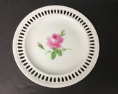 Vintage Meissen Porcelain Reticulated Plate with Roses