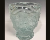Signed R. Lalique Crystal Vase with Cherubs and Flowers