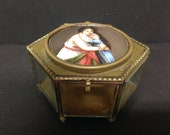 Antique French Glass and Bronze Enamel Trinket Jewelry Box with Woman, Girl, Mother, Daughter, 2.75 quot High
