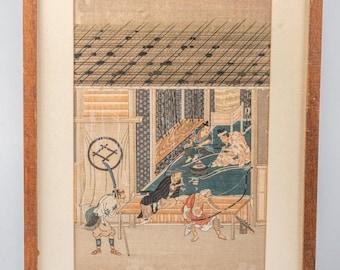 "Japanese Old Woodblock Print  16 x 11.25"""