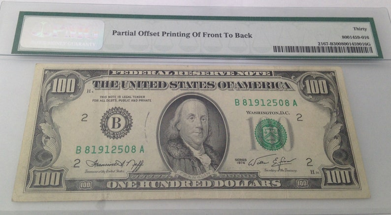 Error! U S  Federal Reserve Currency One Hundred Dollar Note Bill 1974 New  York, NY, Offset Printing Front to Back