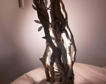 Wooden lamp with Ivy