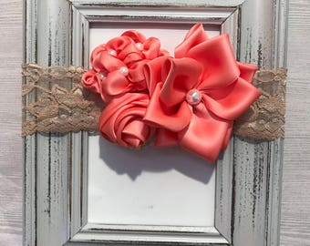 Baby headband, coral headband, over the top headband, couture headband, flower headband