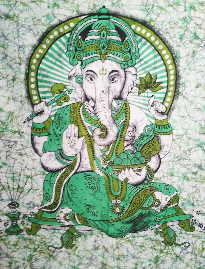 Large Wall Tapestry Lord Ganesha Cotton Wall Decor Meditation Room Decor Hippie Psychedelic Spiritual Tapestry Om Wall Decor 200 X 135 Cm