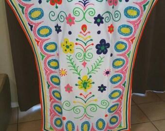 Rare 60-70s Day Glow Boho, Hippie Mexican Caftan/ Wedding Dress