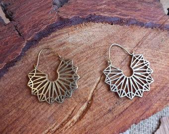 Geometric Brass Hoop Tribal Earrings