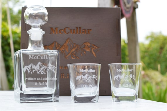 Personalized Whiskey Decanter Set Engraved Decanter Set Etsy