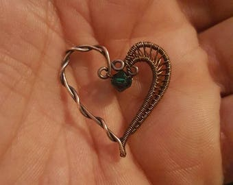 Wire wrapped heart pendant with a matching 19 inch chain
