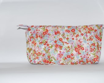 Soft floral cosmetic bag pencil case
