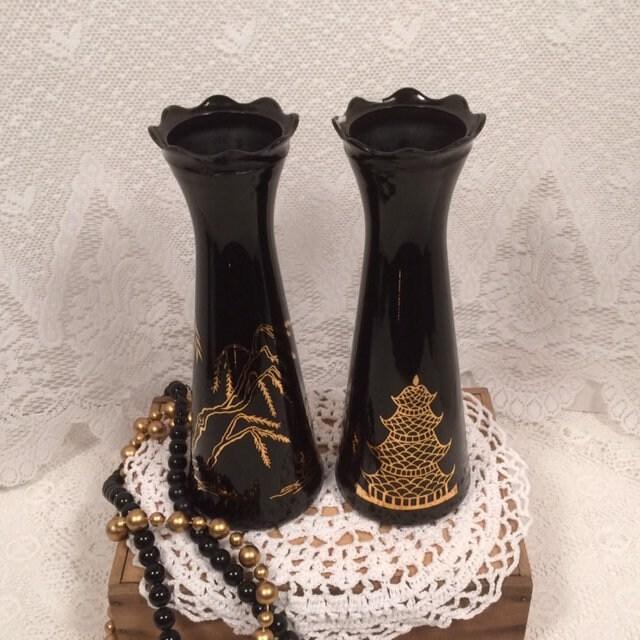 Vintage Asian Vase Oriental Vase Pagoda Black And Gold Glass Vase