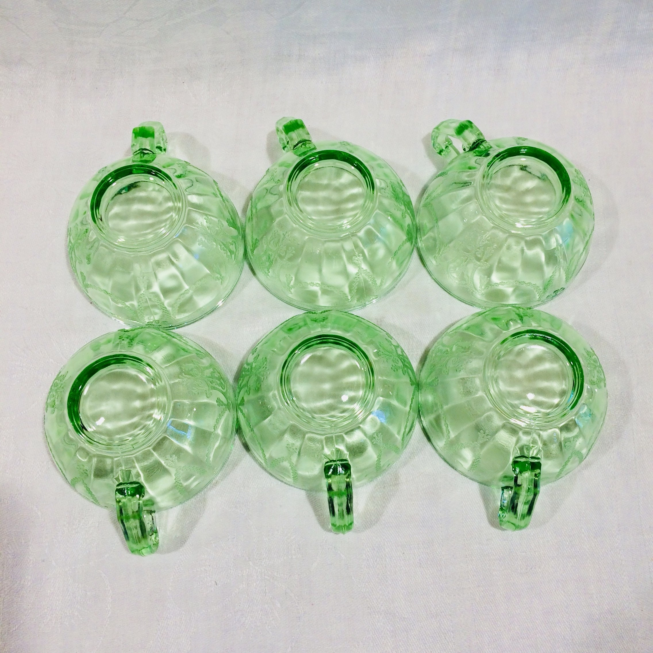 Anchor Hocking Cameo Green Scroll Handle Cup and ...