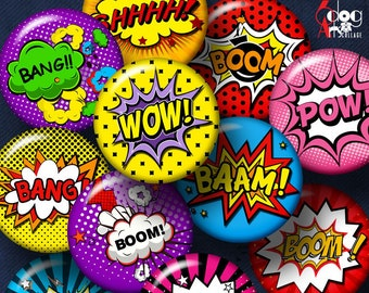 "Comic Book Exclamations Digital Collage Sheets Printable 2.755"" 1.85"" 1.629"" 1.375"" Circles for 2.25"" 1.5"" 1.25"" 1"" Buttons, Mirrors JC-123"