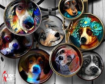 Dog Painting Digital Collage Sheets Printable Downloads Mini Bottle Caps Pendants Glass Cabochon 20mm, 18mm, 16mm, 14mm, 12mm Circles JC-149