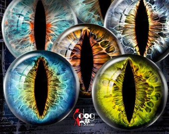 Creature Cat Dragon Eye Irides Digital Collage Sheets Printable Download Jewelry Doll Making 20mm 18mm 16mm 14mm 12mm 10mm 8mm 6mm JC-372