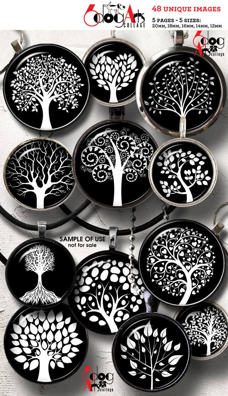 image about Tree of Life Printable referred to as Tree of Lifetime Electronic Collage Sheets Printable Downloads for Mini Bottle Caps Pendants Crafts 20mm, 18mm, 16mm, 14mm, 12mm Circles JC-075C